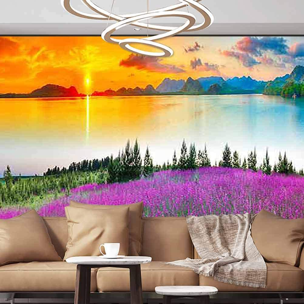 Albert Lindsay Backdrop DIY Wall Mural Landscape Flower Lake Sunset Removable Wall Mural,135x106 inches/343x270 cm,Wall Stickers for Office Livingroom Study Room Home Decor