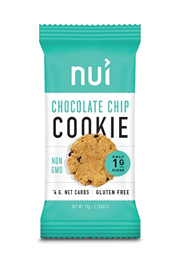 Keto Cookies, Low Carb Snacks: Chocolate Chip Cookies by Nui - 4g Net Carbs, 4 Pack (8 cookies)