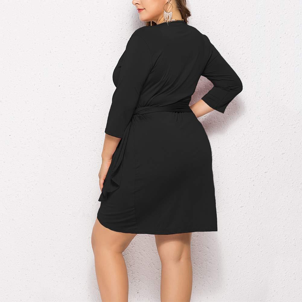 Slendima 3/4 Sleeve V Neck Women Plus Size Solid Color Bandage Crossed Hem Mini Dress Black XXXXL by Slendima (Image #2)