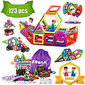 Magnetic Building Blocks Set 123 Piece: Colorful Tiles, Educational Cards, Wheels, and 2 Magnet People Plus Backpack and Storage Box.Educational Toy for Girls and Boys. Premium Gift for Kids.