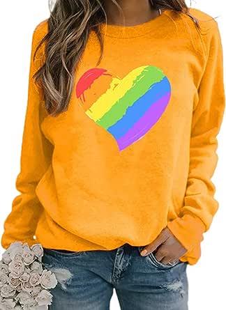 Sudaderas únicas de la impresión del corazón de la raya del arco iris de las mujeres con cuello redondo de manga larga jersey Tops día