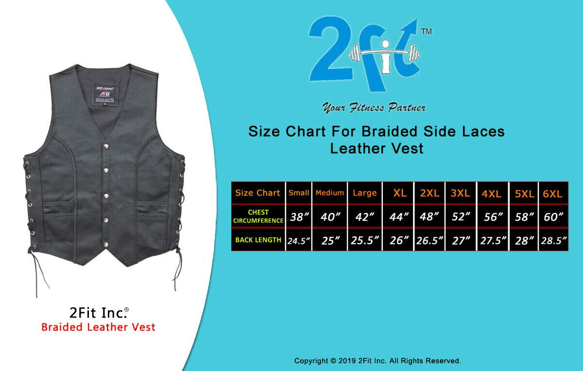 ARD Premium Quality Mens Braided Side Lace Motorcycle Black Leather Vest S-6XL MEDIUM