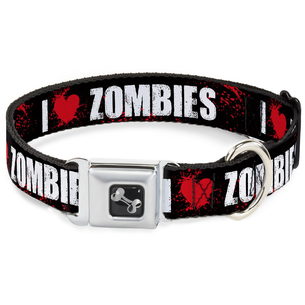 Buckle-Down Seatbelt Buckle Dog Collar I Heart  Zombies Black White Red Splatter 1.5  Wide Fits 16-23  Neck Medium