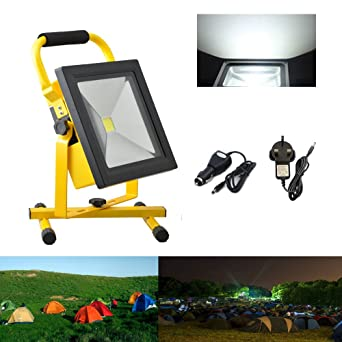 30 W Rechargeable Floodlight Security Camping Outdoor LED Work Light UK Plug