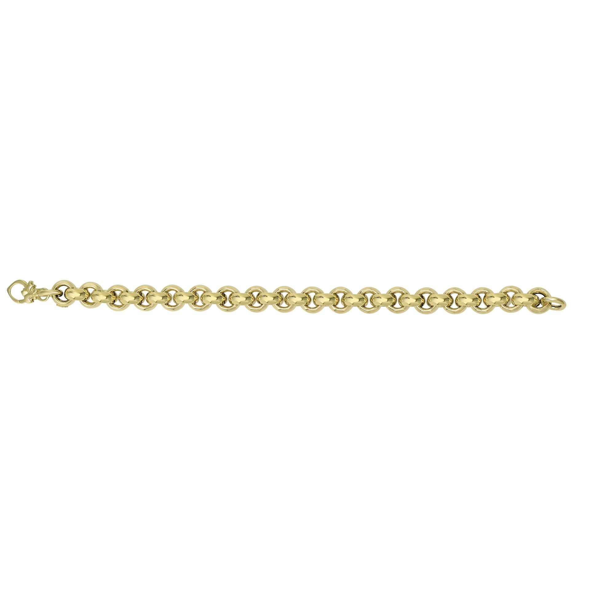 IcedTime 14K Yellow Gold Shiny Diamond Cut 9.5mm Round Rolo Type 8'' Bracelet with Fancy Fleur De Lis Clasp