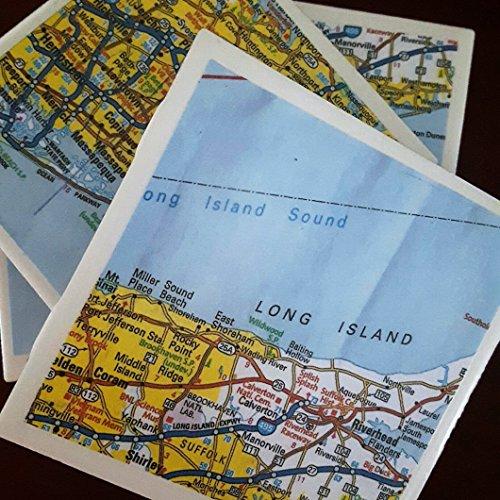 Long Island Coasters, Set of 4, New York Drink Coasters, Full Cork Bottoms, Great Gift Idea
