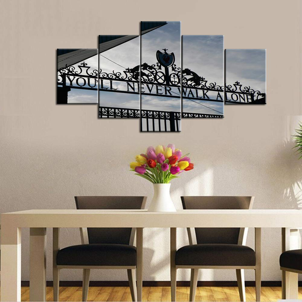Fankiko Black and White Wall Art 5 Piece Canvas Youll Never Walk Alone Paintings Liverpool FC Club Store Pictuers Home Decor for Living Room Artwork Framed Gallery-Wrapped Ready to Hang 50Wx24H