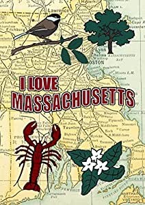 Welcome House Flag I Love Massachusetts Decorative New England Boston Map Garden Flag Christmas Flag Decorations All Weather Fade Resistant