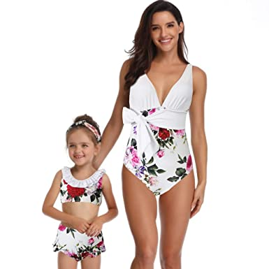 a2b79b6b56 Mommy and Me Sexy Swimsuit Family Matching Mother Daughter Floral Print One  Piece Bikini Bathing Suit Swimwear for Girls at Amazon Women s Clothing  store