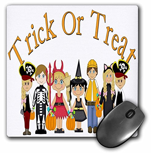 3dRose Anne Marie Baugh - Halloween - Cute Illustration of Trick Or Treaters with Trick Or Treat Words - Mousepad (mp_216867_1) -