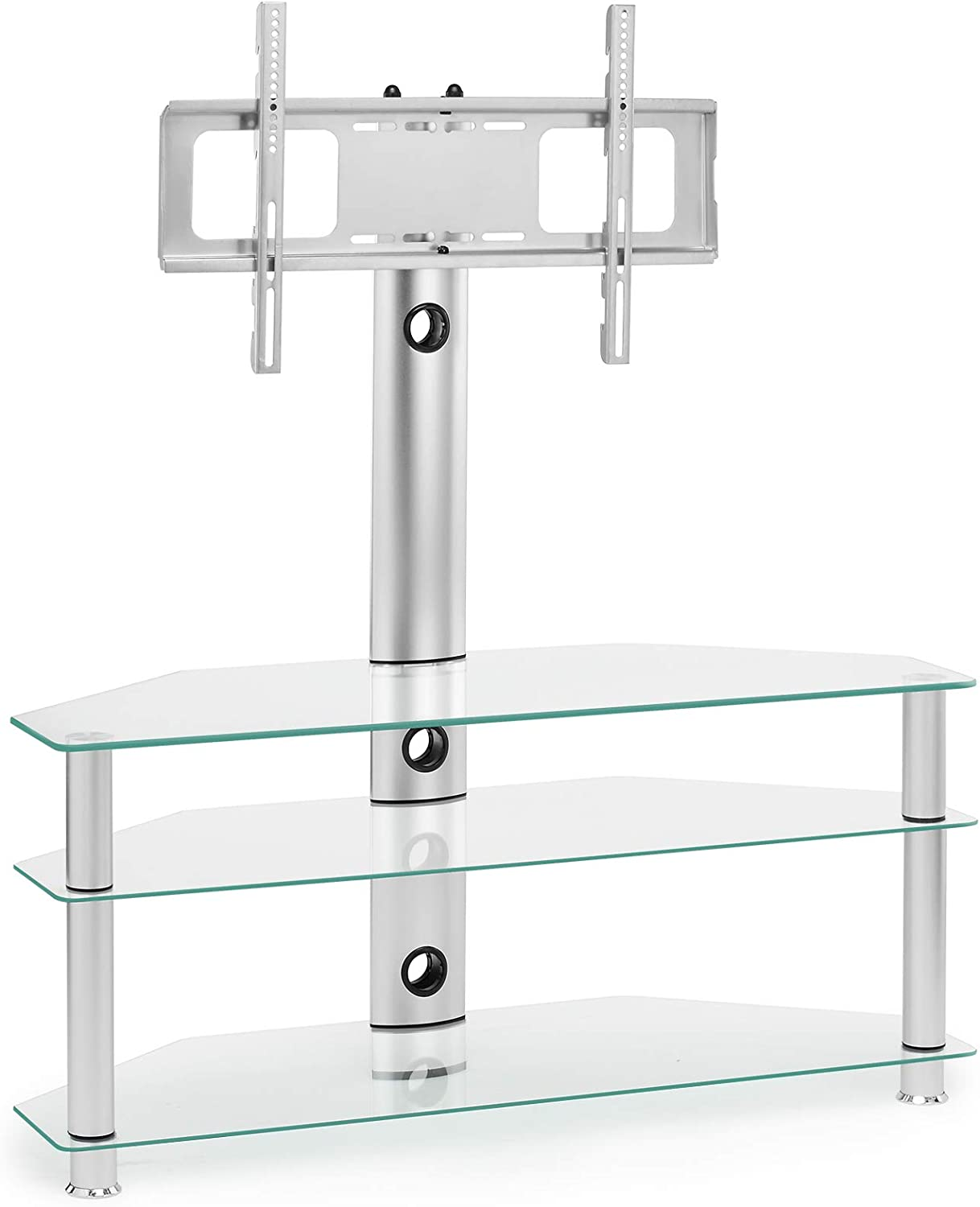Clear Glass Tv Stand With Mount Swivel Bracket For 32 Amazon Co Uk Electronics