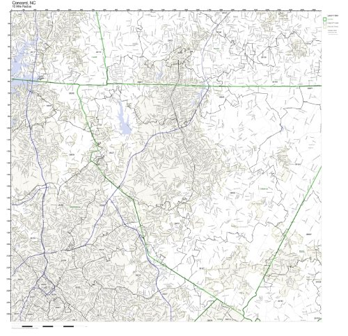 Concord, NC ZIP Code Map Laminated