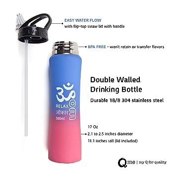 Amazon.com: Q Me doble pared botella: 16.9 ounce acero ...