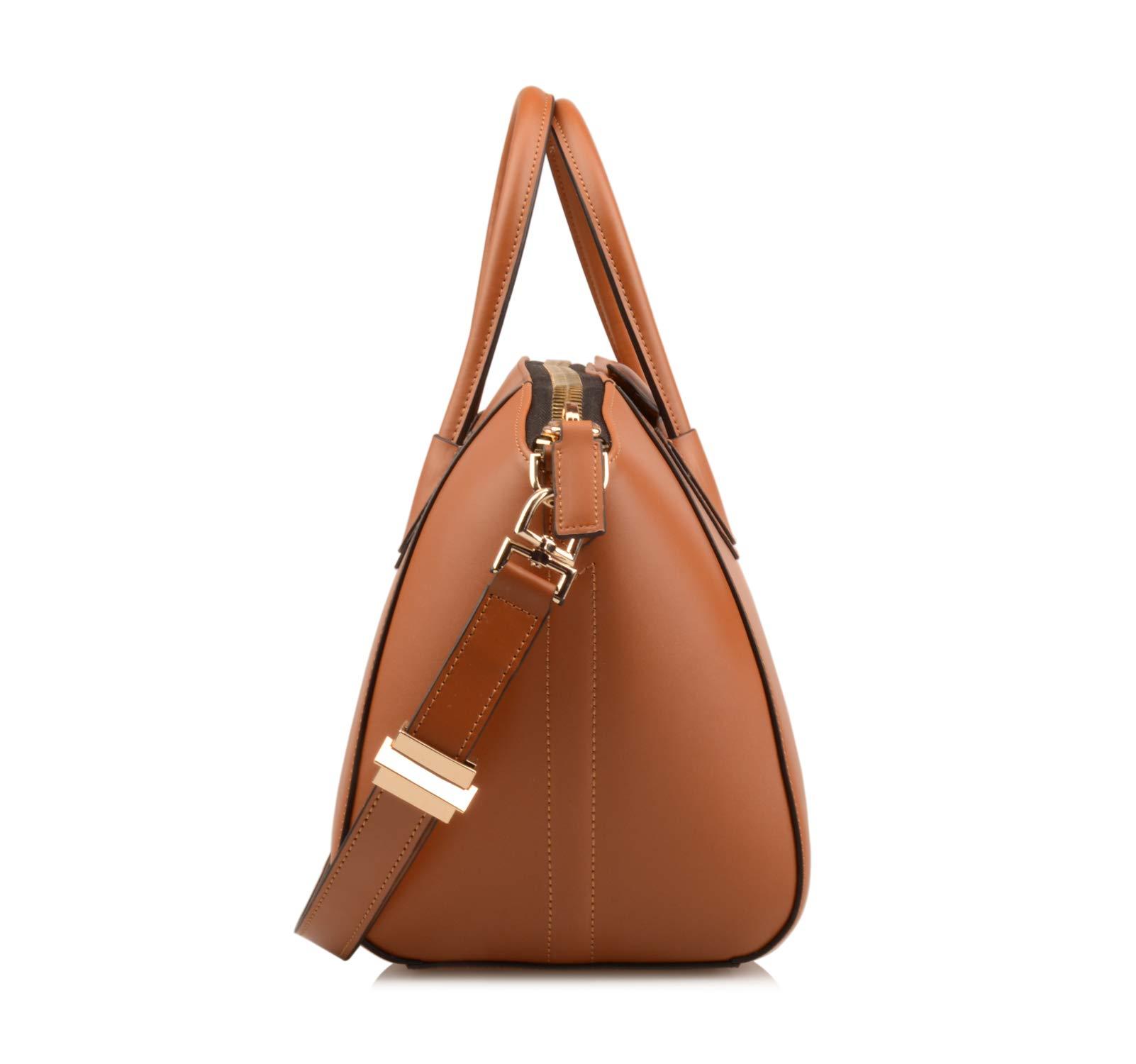 Ainifeel Women's Genuine Leather Simple Everyday Purse Top Handle Handbag Shoulder Handbags(Medium, Brown) by Ainifeel (Image #4)