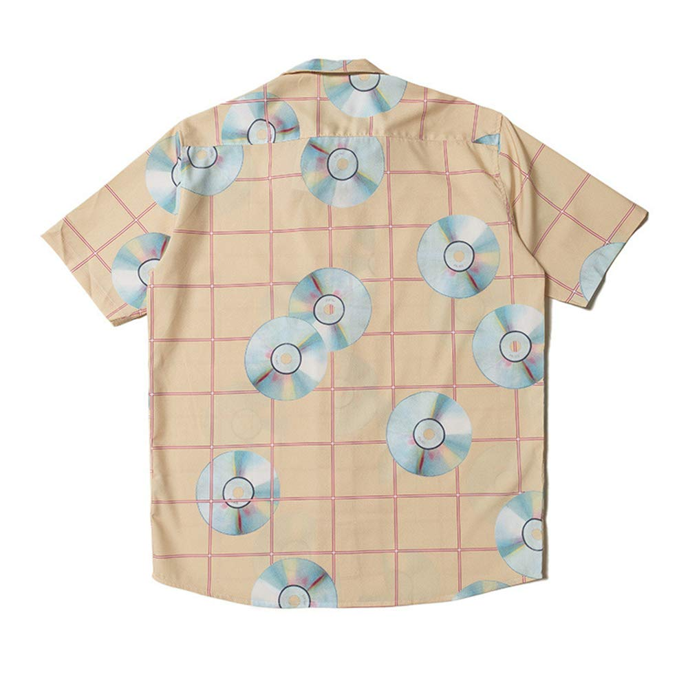 HERW Mens Relaxed-Fit Printed Cotton Tropical Hawaiian Casual Shirt