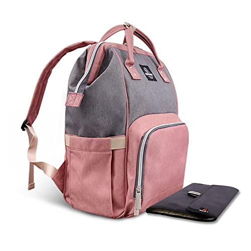 HEYI Multi-function Nappy Changing Bag,Waterproof Diaper Bag Backpack with Large Capacity Mum Traveling Bags (Pink-Grey)