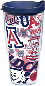 Tervis Arizona Wildcats All Over Insulated Tumbler with Wrap and Navy Lid, 24oz, Clear