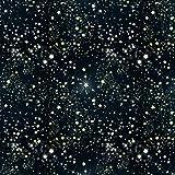 Black Deep Blue Night Starry Sky Stars Backdrop with Gold Silver Stars Photo Background Party Wedding Children Newborn Photography Studio 6x6FT