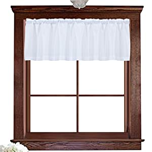 "Valea Home Water Repellent Valance for Bathroom Window Waffle Woven Textured Short Kitchen Curtain Valances(60"" x 16"", White, One Panel)"