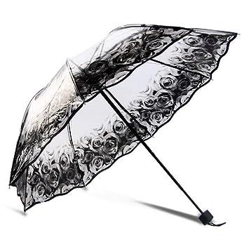 PFSXZTW Paraguas Paraguas Transparentes Plegables para Mujer Paraguas de Lluvia Transparente Impresa Paraguas para Mujer para