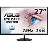 ASUS VL278H 27-inch Eye Care Monitor, 1ms, 75Hz, Adaptive-Sync/FreeSync, Frameless, Slim, Wall Mountable, Flicker Free…