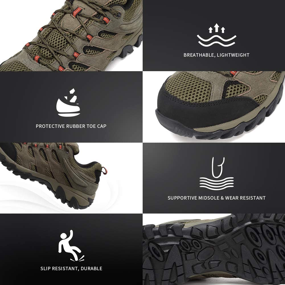 FANTURE Mens Lightweight Hiking Shoes Camping Shoes Outdoor Sneakers