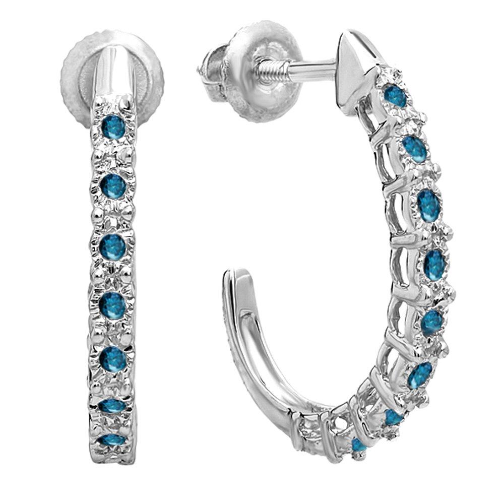 0.25 Carat (ctw) Sterling Silver Ladies Hoop Earrings 1/4 CT DazzlingRock DR0381-1210