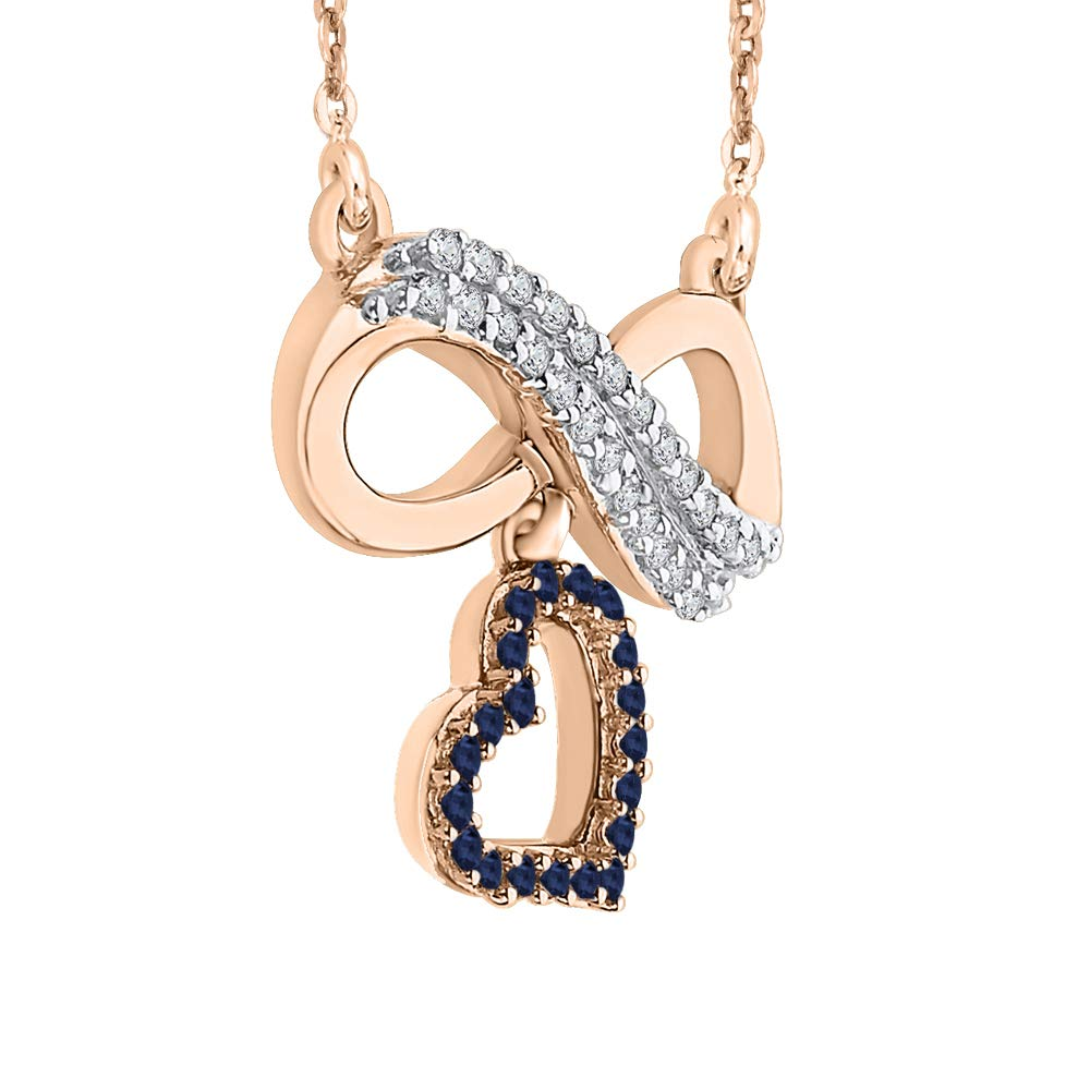 19001297/_Y 1//6 cttw, G-H, I2-I3 KATARINA Prong Set Diamond and Sapphire Infinity Heart Pendant Necklace in Gold or Silver