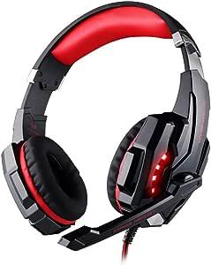 سماعة اذن للالعاب بخاصية الغاء الضوضاء من كوشن ايتش مع خاصية التحكم في مستوى الصوت احمر