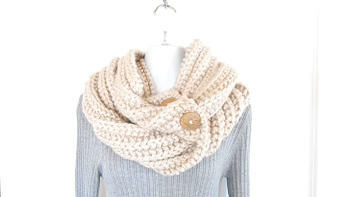 Amazon Hand Knit Bulky Infinity Scarf Cream Colored Knit Cowl