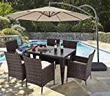 Do4U 7 Piece Patio Wicker Dining Set Complete Outdoor Rattan Dining Furniture Glass Table Cushioned Chair (Mixed-9025) For Sale
