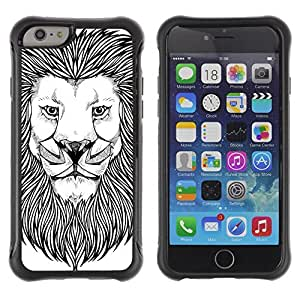 Hybrid Anti-Shock Defend Case for Apple iPhone 6 4.7 Inch / Majestic Lion Painting