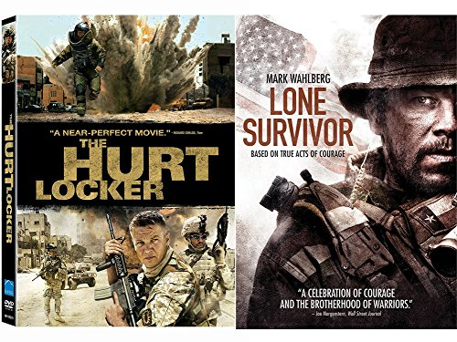 Hurt Locker DVD & Lone Survivor True Story Courage Movie Bundle Set