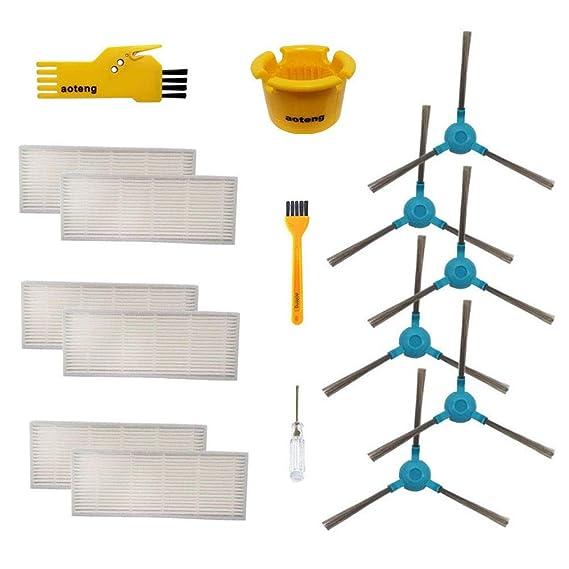 Accesorios para Cecotec Conga 1390 Cecotec Conga 1290 Robot Aspirador Repuestos Paquete de 1 Pincel Cepillo Principal, 6 filtros Hepa, 6 cepillos ...