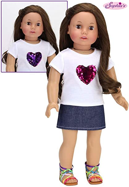 """Pink Top Shirt w//Attached Sequin Vest Doll Clothes fits 18/"""" American Girl"""