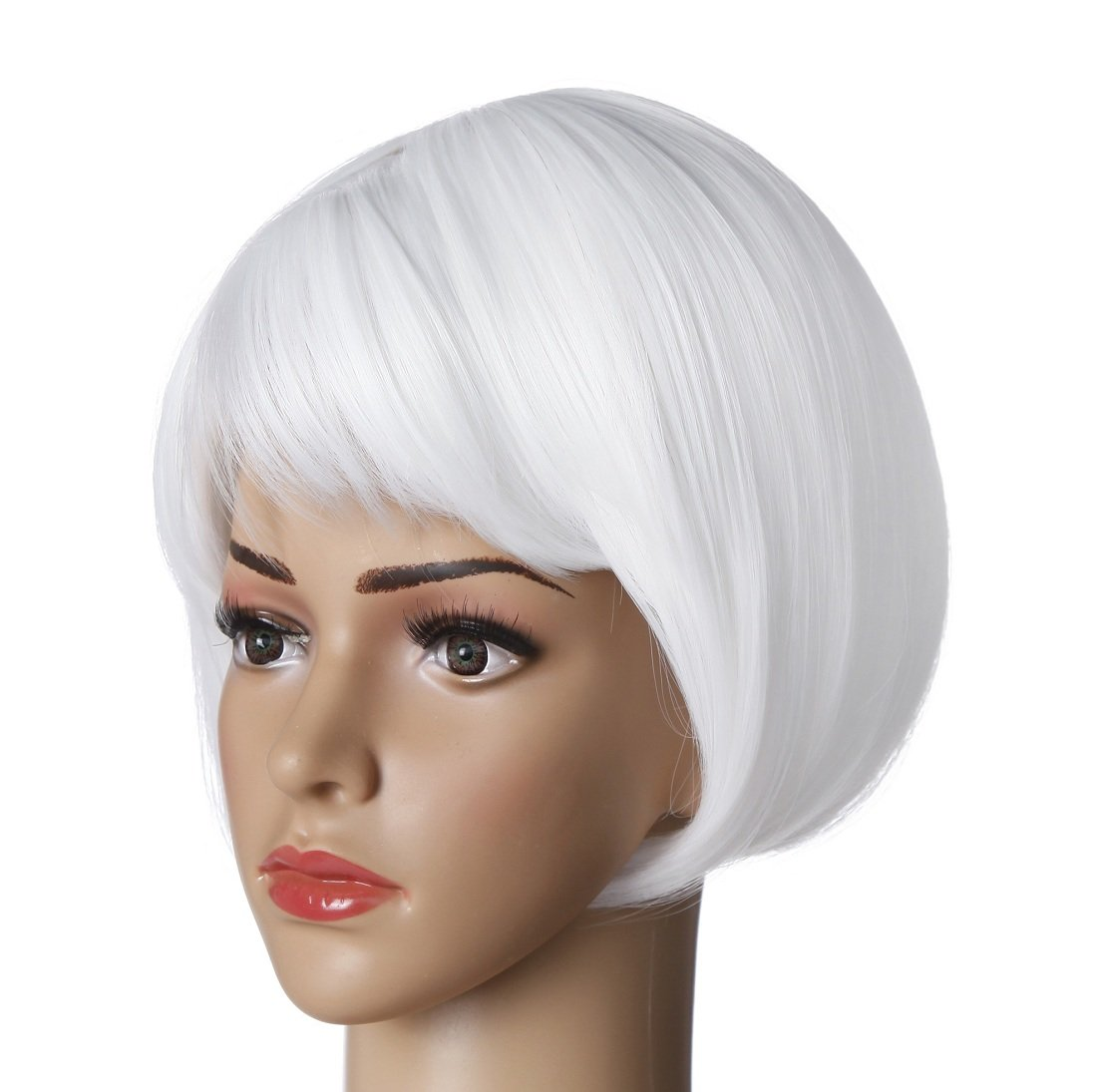 Short Straight Bob Hair Wigs 10'' Bright White Synthetic Party Costume Wig (White) by Liasun (Image #5)