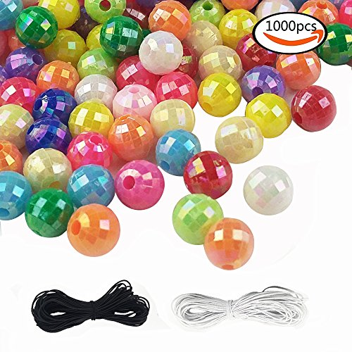 SHAN RUI 1000pcs 6mm Assorted Color Acrylic Round AB Color Spacer Beads, with 1 Black and 1 White Cord for Bracelets Jewelry Making