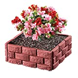 Collections Etc Brick Interlock Garden Fence Borders - Set of 4, Red