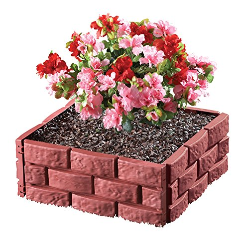 Collections Etc Brick Interlock Garden Fence Borders - Set of 4, Red by Collections Etc