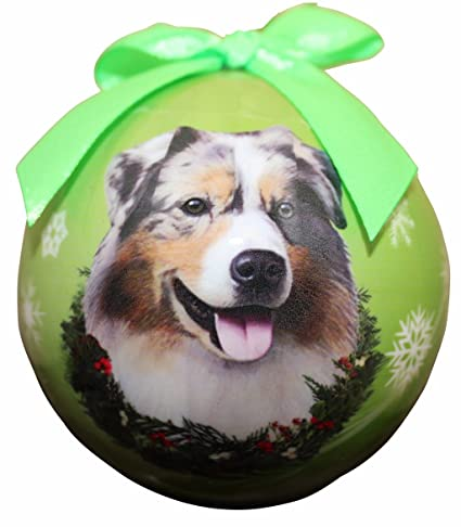 """Australian Shepherd Christmas Ornament"" Shatter Proof Ball Easy  To Personalize A Perfect Gift - Amazon.com:"