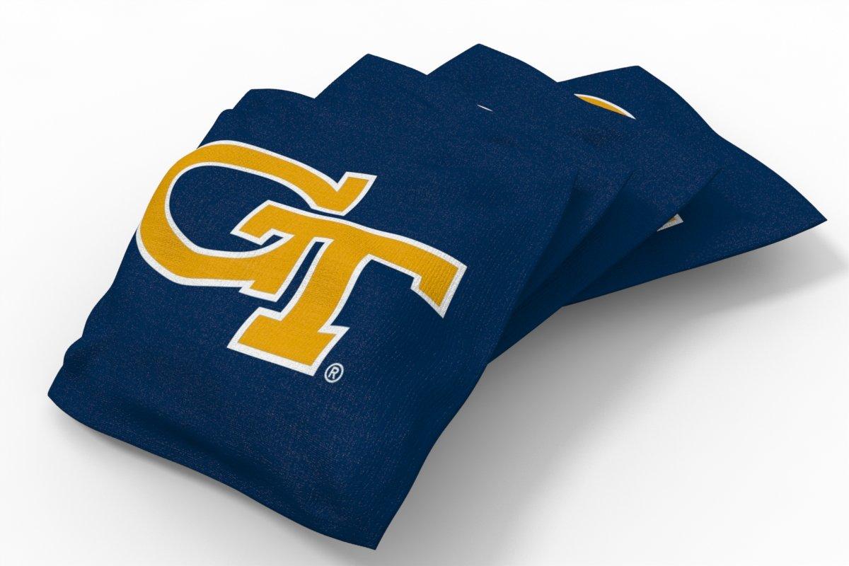 Wild Sports NCAA College Georgia Tech Yellow Jackets Blue Authentic Cornhole Bean Bag Set (4 Pack)