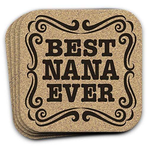 Christmas Gift Cork Drink Coaster Set of 4 BEST NANA EVER for Grandmother -