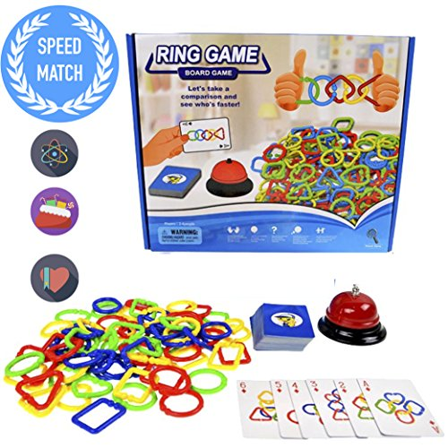 A Brand New Concept of Speed Connect Game - 2017 New Design Speed Rings Game for Kids Adults Party Family Game, Colors and Shapes Match Game, idea birthday gift for kids 5 years and up
