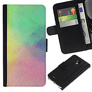 KingStore / Leather Etui en cuir / Samsung Galaxy S4 Mini i9190 / Niebla Lluvia en colores pastel colorido azul Clean;