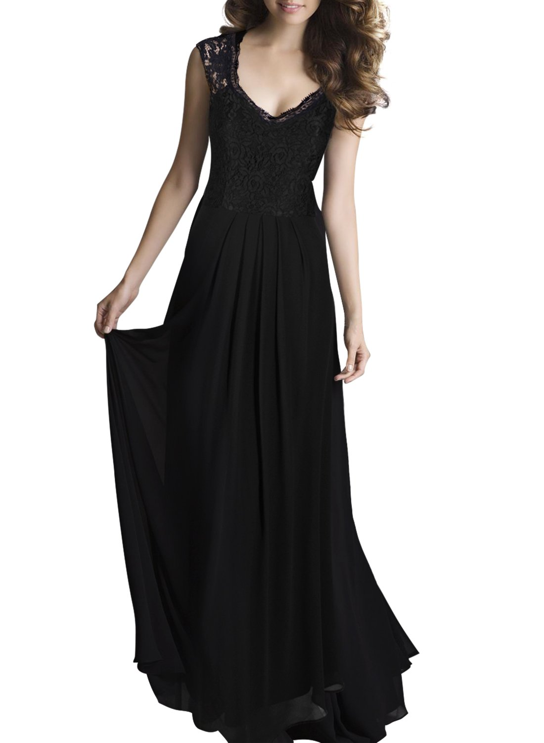Shengdilu Women's Ball Gown Prom Maxi Long Evening Formal Party Wedding Bridesmaid Dress S Black