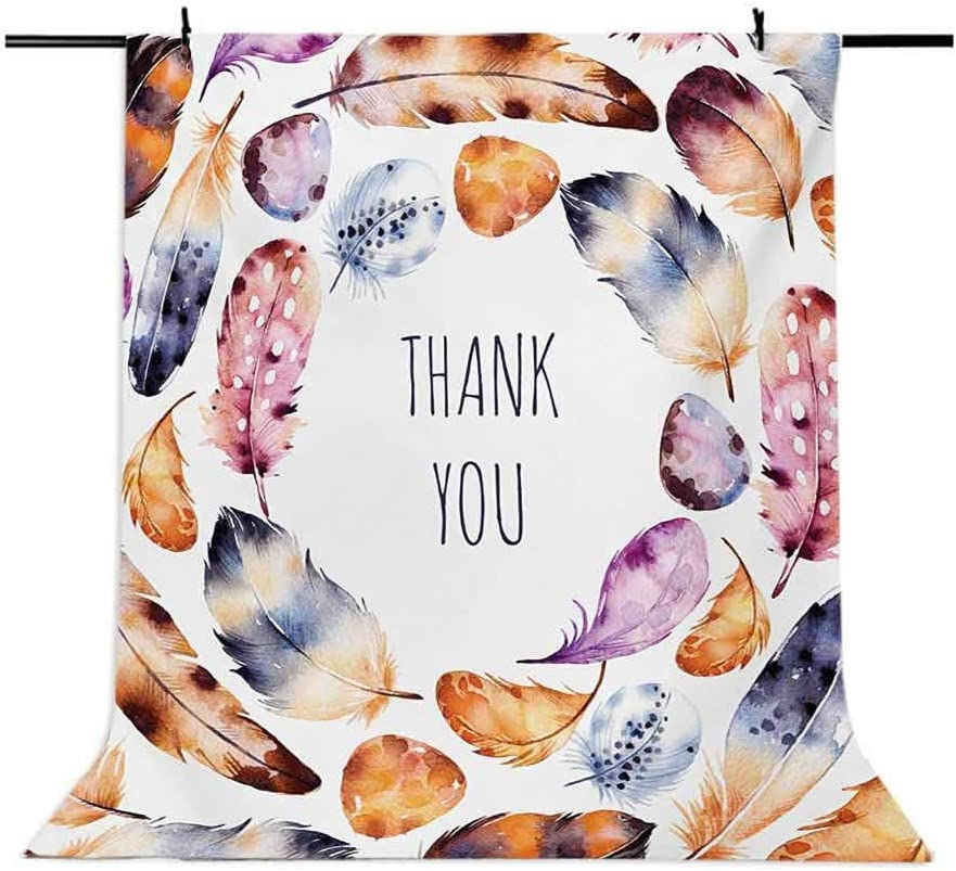 Tribal 10x15 FT Photo Backdrops,Bird Hawk Colored Feathers with Hand Written Thank You Note in The Middle Print Background for Baby Shower Bridal Wedding Studio Photography Pictures Multicolor
