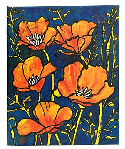 - California Poppies Original Flower Painting On Canvas, Not Print, Poppy Artwork From Artist, 8x10 Ready To Hang