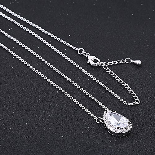 AMYJANE Wedding Jewelry Set for Bridesmaids - Sterling Silver Teardrop Cubic Zirconia Halo Earrings and Pendant Necklace Clear Crystal Jewelry Set for Women by AMYJANE (Image #3)