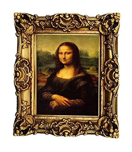 Hong Art Wall Art Prints Leonardo da Vinci - The Mona Lisa with Antique Gold Resin Frame, Antiqued Classic Gold Finish CS1831 -