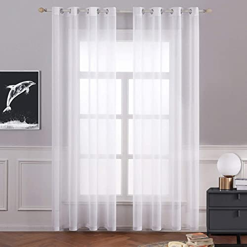 Rutterllow White Sheer Curtains 95 Inch Length
